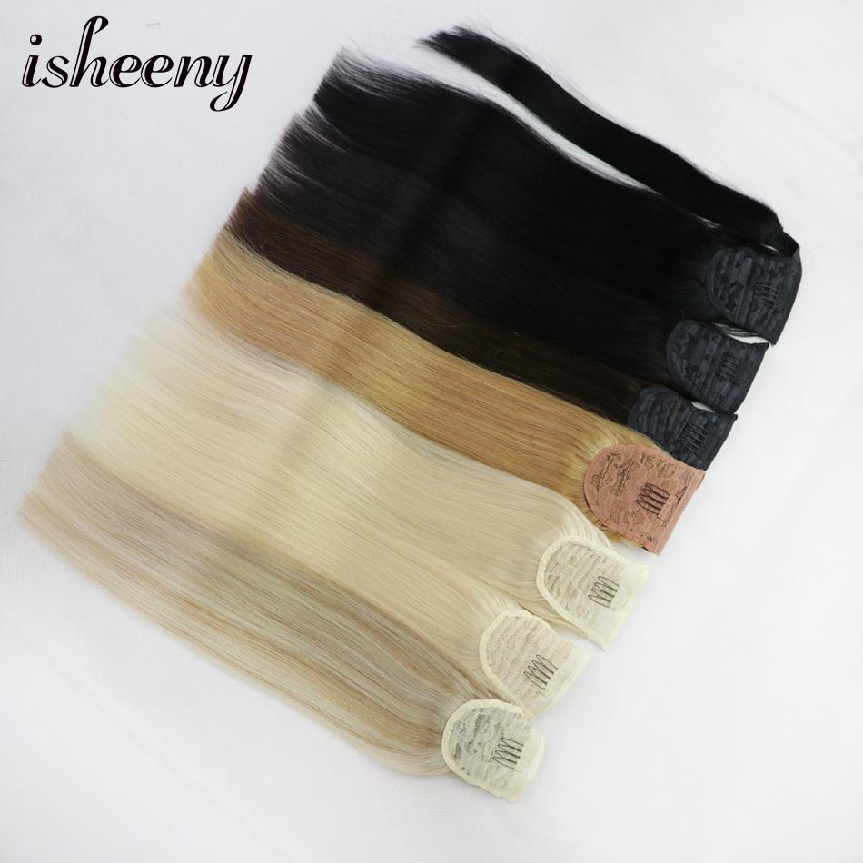 """Isheeny Human Hair Remy Ponytail Extensions 14"""" 18"""" 22"""" Clip In Human Hair Extensions(China)"""