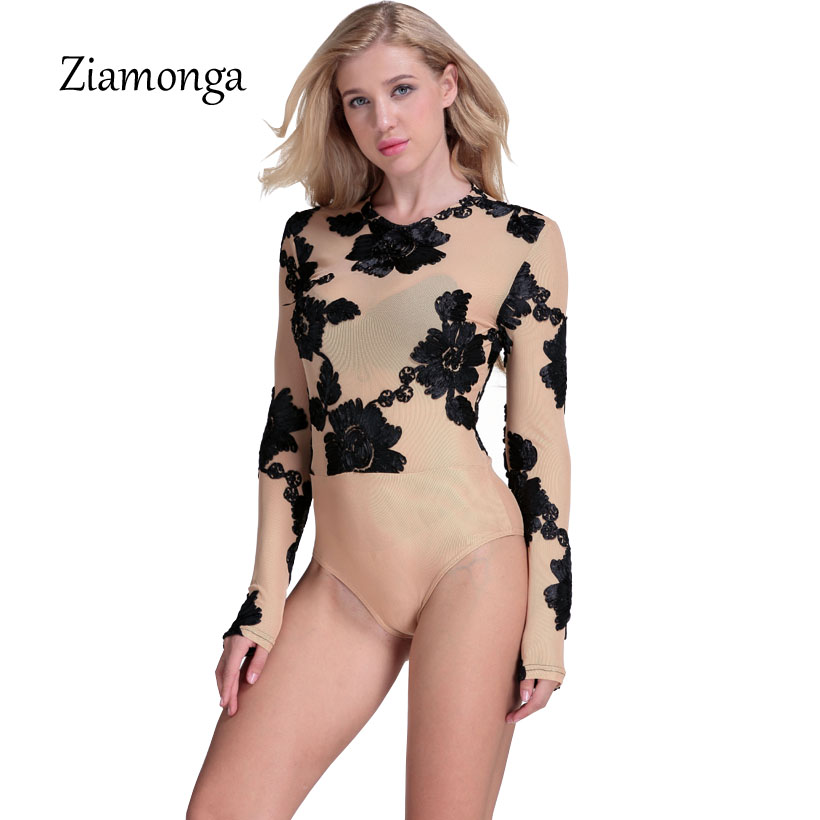 26014df89ee Ziamonga Sexy Summer Party Bodycon Jumpsuit Lace Embroidery Bodysuit Women  3D Flower Combinaison Femme Long Sleeve Mesh Bodysuit