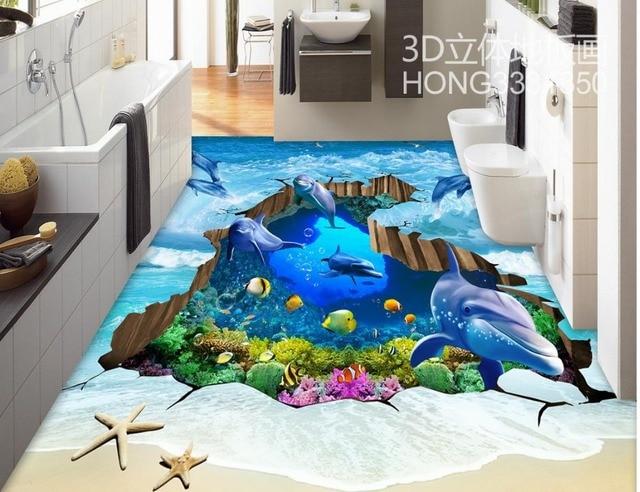 3d Tapete Fußboden ~ D boden malerei tapete welle delphin risse unterwasserwelt d