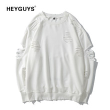 HEYGUYS damage hole sweatshirts Europe us high street sweatershirts men cool Hip Hop wear hot selling men designer solid wear(China)