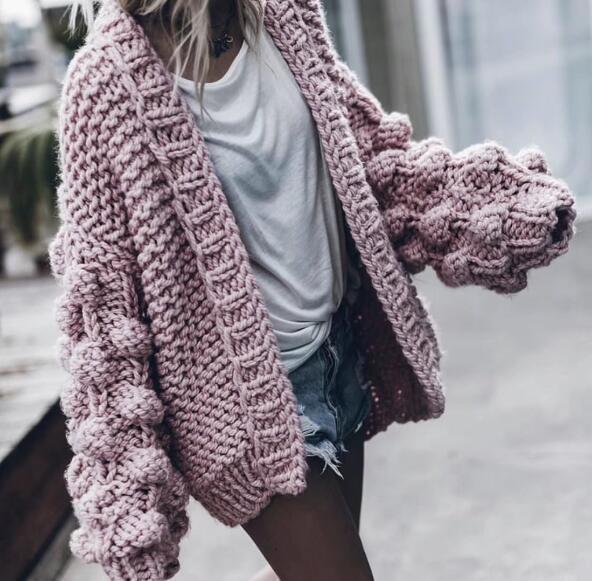 2019 Autumn Winter women sweater ball lantern sleeved cardigans female knitting pull Coarse lazy cadigans women sweater jumper