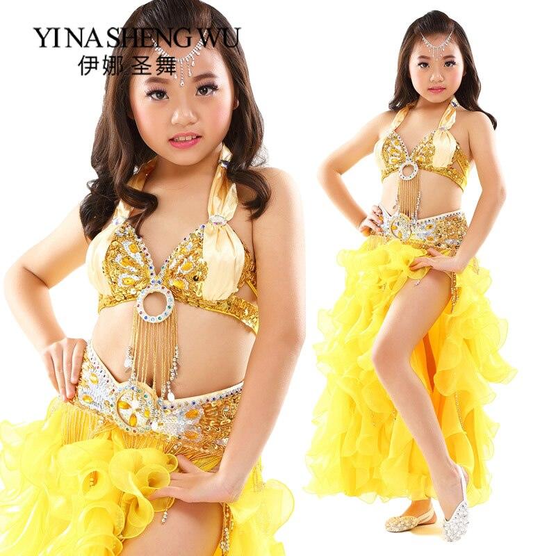 Belly Dance Costumes Girls Kids Oriental Dance Clothing Beaded Tassel Bra Sexy Indian Dress Children Dance Performance Costumes