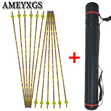 12pcs 32 Archery Carbon Arrow Spine 600 With Quiver For Bow And Outoor Hunting Shooting Accessories