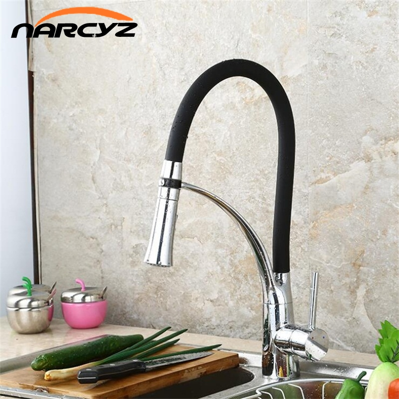 Free Shipping New arrival soild brass polished chrome green kitchen faucet swivel pull down spout kitchen