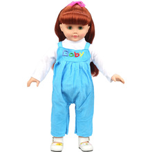 2Pcs Set Blue Baby Bib Overall White T shirt 18 inch American Girl Doll Clothes Fit