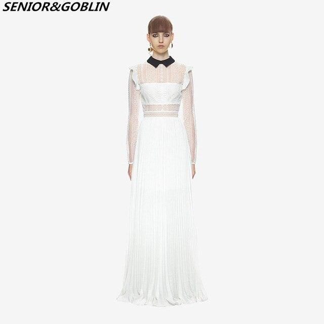 0ee1270680ee8 New 2019 Fashion runway Spring Designer Dress Women Self Portrait Long  Sleeve White Lace Open Fork Maxi Floor-Length Dresses