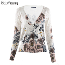 BabYoung 2017 Autumn Women Cardigans Ink Flower Printing Sweater Lovely Christmas Sweater Cashmere Sweater Women Tops Pull Femme