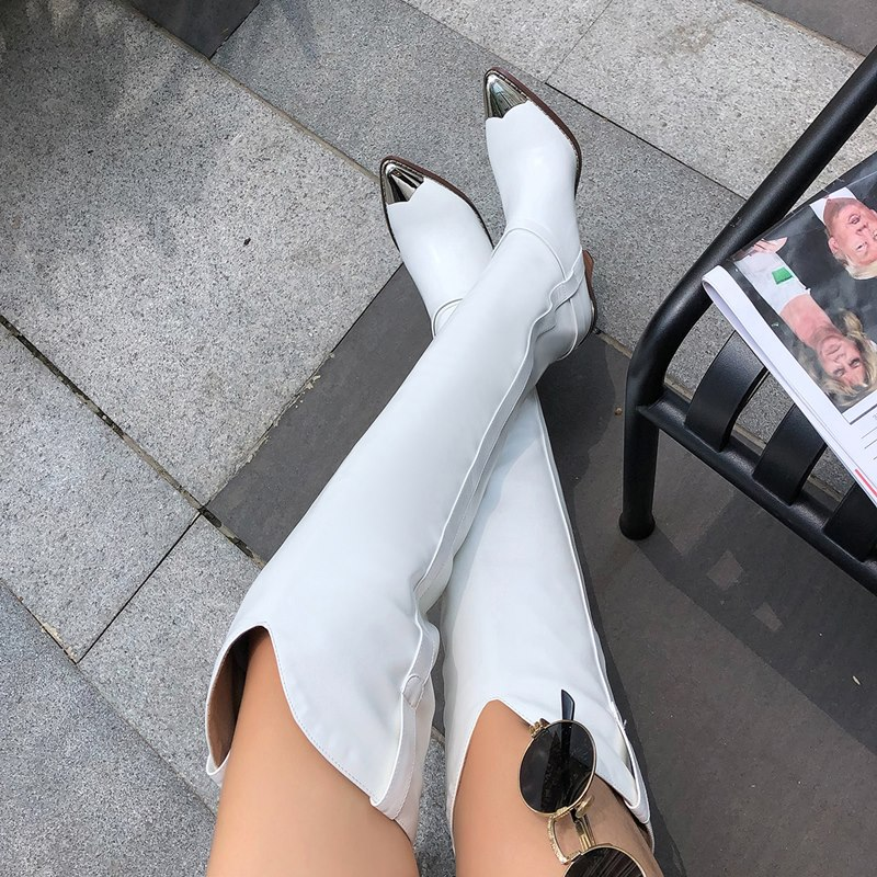 2019 Plus size 34 45 New Genuine leather boots women metal high heels autumn winter over