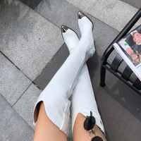 2019 de talla grande 34-45 nuevas botas de cuero genuino mujeres tacones altos de metal Otoño Invierno botas sobre la rodilla sexy botas de muslo de las señoras