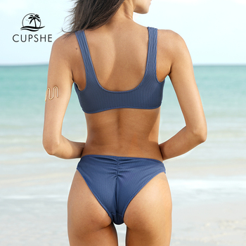 CUPSHE Deep Love Solid Bikini Set Women Blue Summer V-neck Bow Thong Two Pieces Swimsuit 2020 Beach Bathing Suit Swimwear 4