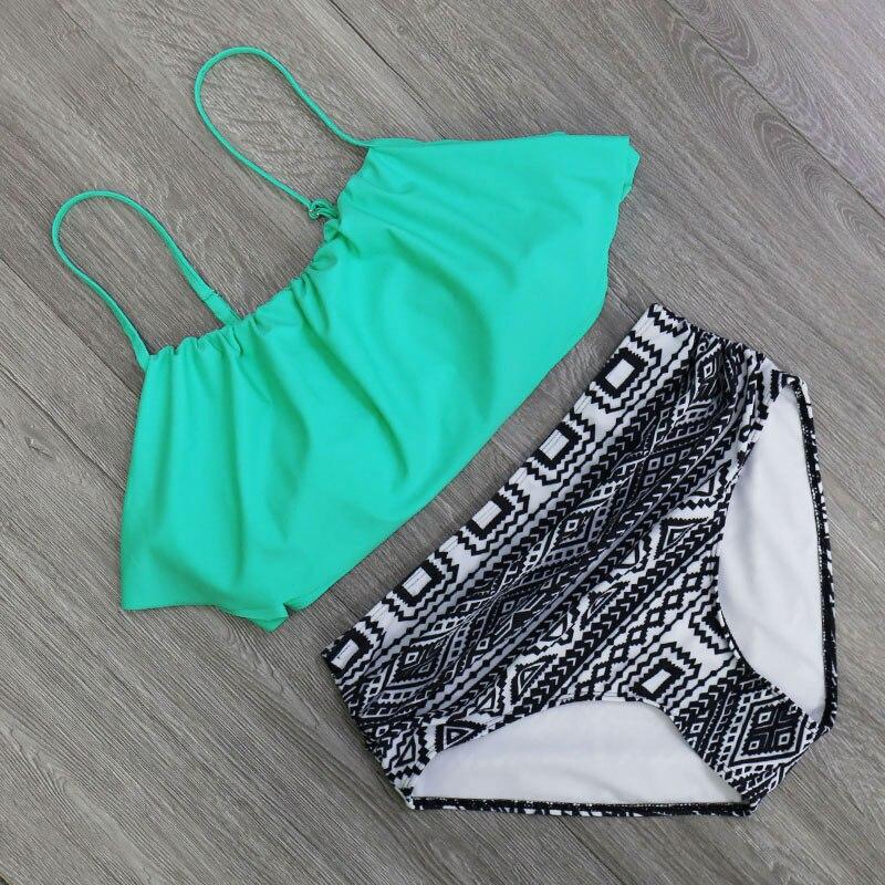 HTB1Xyagjsj B1NjSZFHq6yDWpXay 2018 Bikinis Women Swimwear High Waist Swimsuit Halter Sexy Bikini Set Retro Bathing Suits Plus Size Swimwear XXL