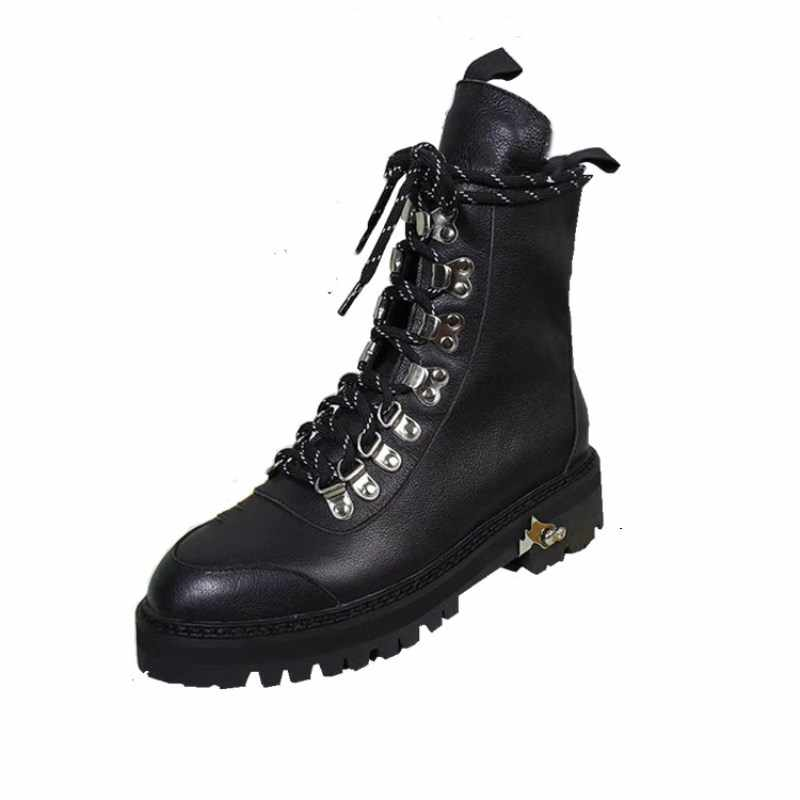Fashion brand design cross-tied women's boots leather warm plush winter women's Martin boots laced girls motorcycle boots  women