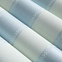 3d Flocking Wallpaper Rolls Modern Blue Vertical Stripe Wall Paper Roll For Living Room Background Kids