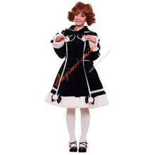 Free Shipping Gothic Lolita Punk Sweet Fashion Black Wool Coat Jacket Cosplay Costume Tailor-Made