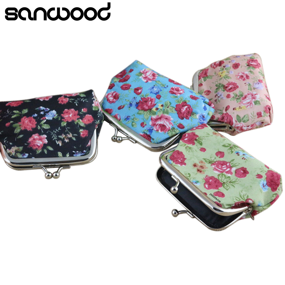 Brand New Small Rose Print Floral Bomboniera Buckle Wallet Bag Cute Purse Keys Pouch Money Coin Purse Gift 4 Colors