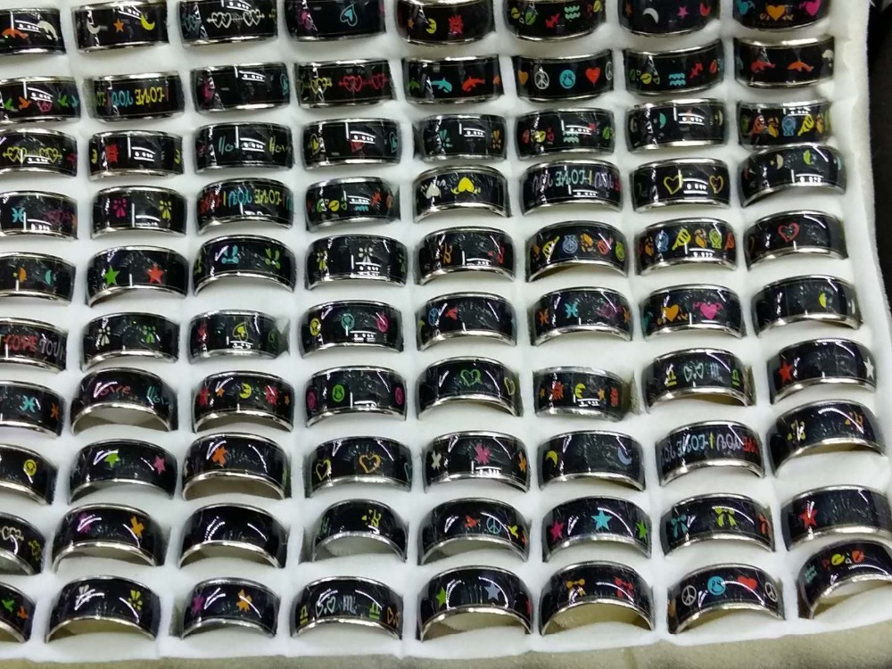 1cm Peace heart shaped dolphins moon and stars pattern mood ring Luminous mood ring Rainbow ring