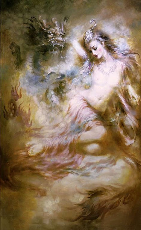 Peinture à l'huile Chine fée kwan-yin & dragon 24x36100% peint à la main peinture à l'huile gratuite livraison
