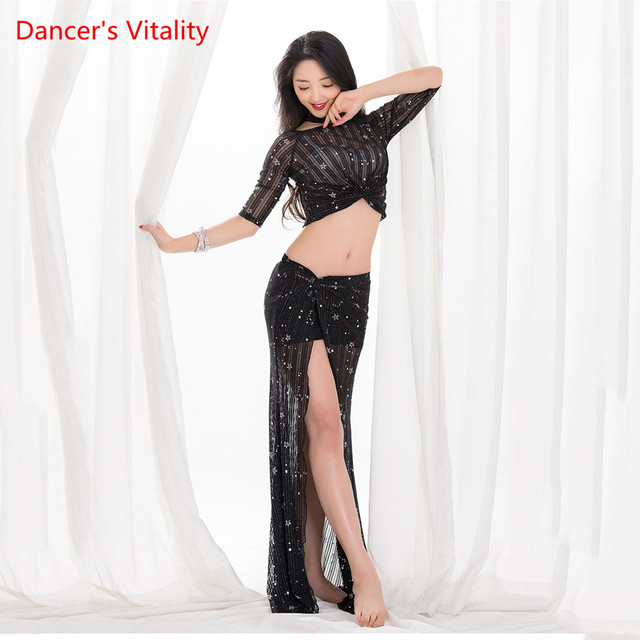 Wholesale Summer Design Sexy Vest Belly Dance Costume 2 Pieces Elegant Oriental Loose Long Skirt Dance Practice Clothes