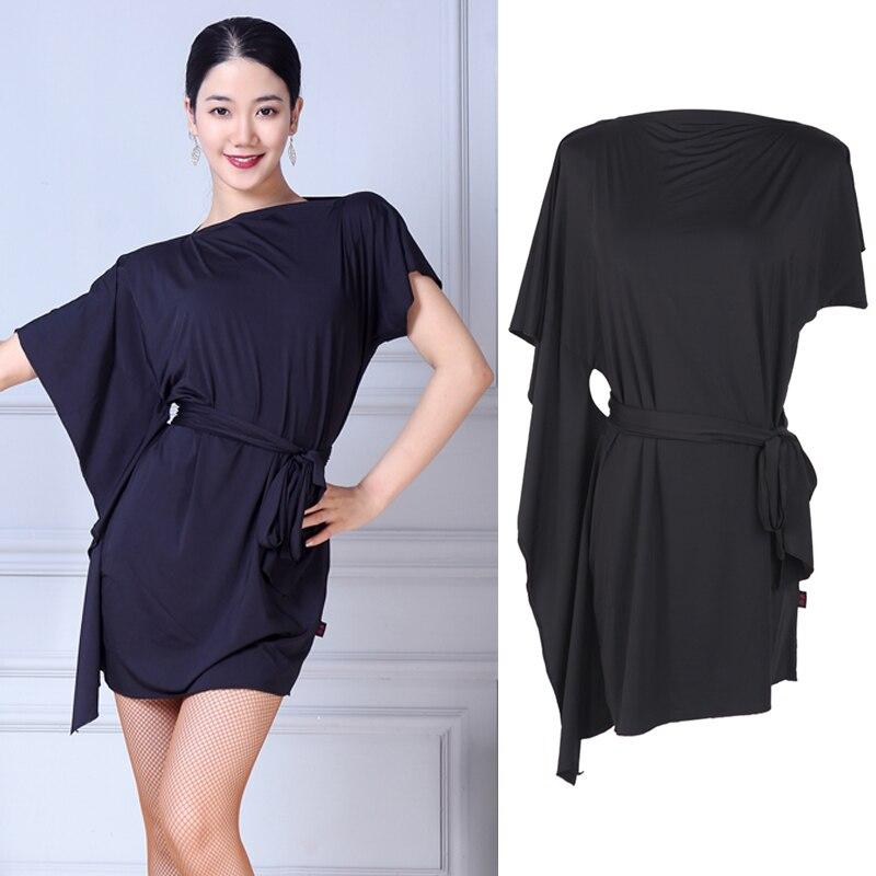 Latin Dance Dress Ladies Black Short Sleeve Rumba Cha Cha Samba Salsa Tango Dancing Clothes Women Practice Show Wear DN3626