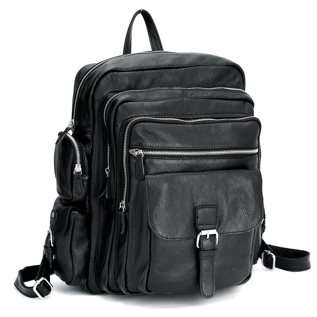 Tiding Men Laptop Backpack For Travel School Boys S Genuine Leather Rucksack Book Bag 3063