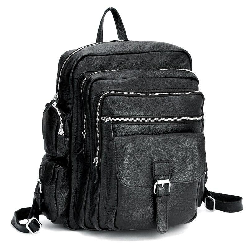 TIDING Men Laptop Backpack for travel school boys girls Genuine Leather rucksack book bag 3063