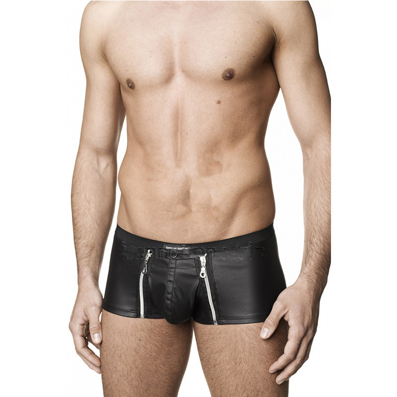 Punk Gothic Sexy Close-fitting PVC Shorts Men Panties with Zippers Gays Erotic Boxers Pole Dance Costume Faux Leather Underwear