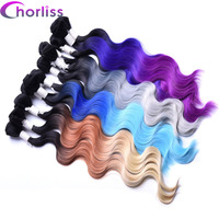 Chorliss 4pcs Lot Body Wave Ombre Blonde 613 Synthetic Hair Weaves 18 20 22 With Closure