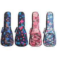 21 23 26 Inch Ukulele Bag Cotton Double Shoulder Straps Case Printed Fabric Hawaiian Guitar Case Ukulele Accessories QB1013