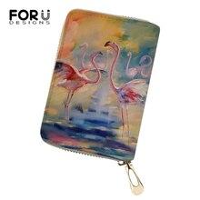 FORUDESIGNS Cartoon Women PU Card Holder Flower Arts Flamingo Print Pattern Girls Money Purses Fashion Business Cluth Wallets