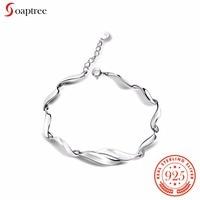 Soaptree Femmes Charmes Bracelet Courbe S925 SIiver Galvanoplastie Blanc Or Bracelets Pour Femmes Argent 925 Bijoux
