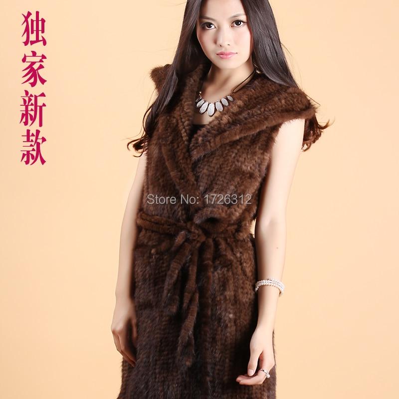 Valódi nyérc prémes mellény közepes hosszúságú kapucnis - Női ruházat