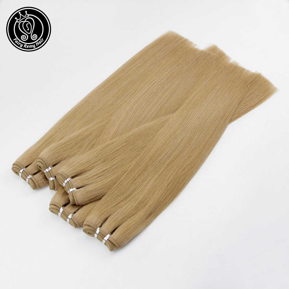 Fairy Remy Hair 100 g/pc Real europeo recto cabello humano armadura paquetes 16 pulgadas platino Color rubio Remy trama cabello extensión