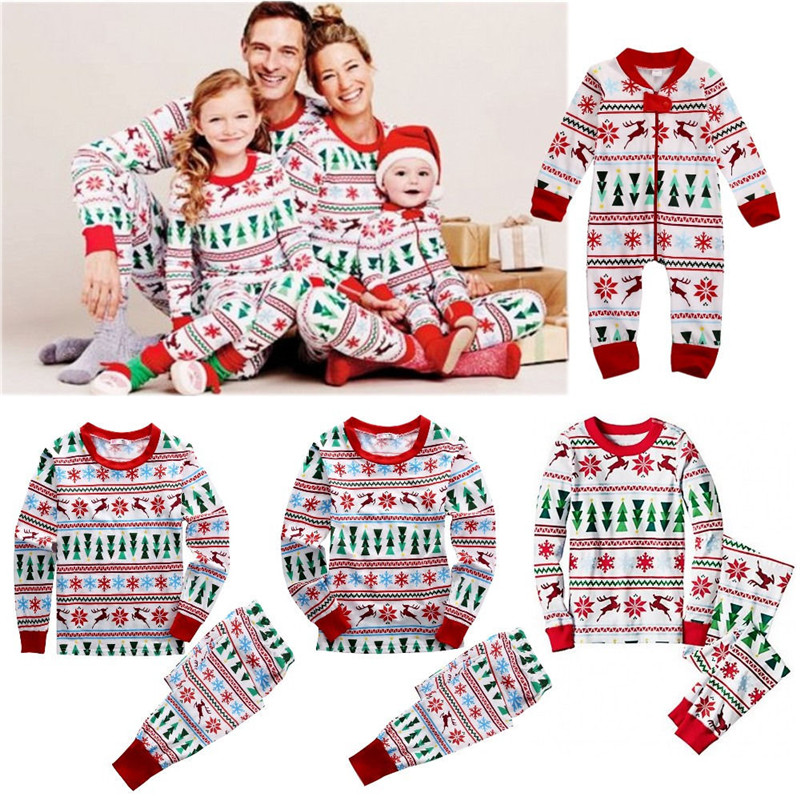 8b6d566a5b Hot Family Matching Christmas Family Pajamas Set Snowflake Tree Printed  Adult Baby Kids Long Sleeve Nightwear Pyjamas Costume-in Matching Family  Outfits ...