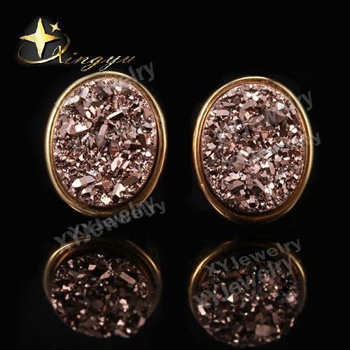 Cor de rosa de ouro preço de fábrica banhado a ouro forma de ovo coloridos Natural ágata Drusy pedra brincos JewelryChristamaXYE503341rg