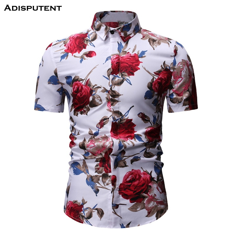 Adisputent Mens Button Down Shirts Slim Fit Romantic Rose Floral Print Short Sleeve Casual Beach Hawaiian Shirt  Summer