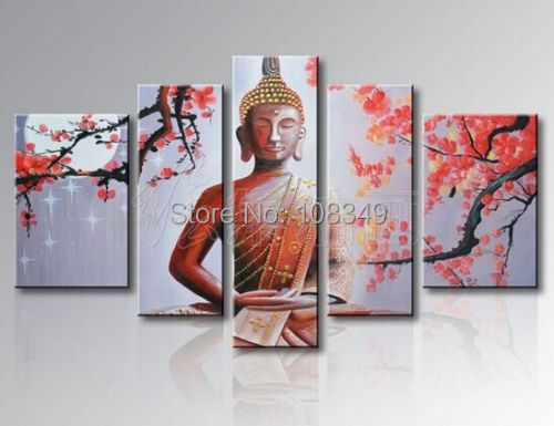 Handpainted oil painting New poinsettia figure of Buddha High Q. buddha painting Oil Painting on canvas 5pcs/set mixorde Framed