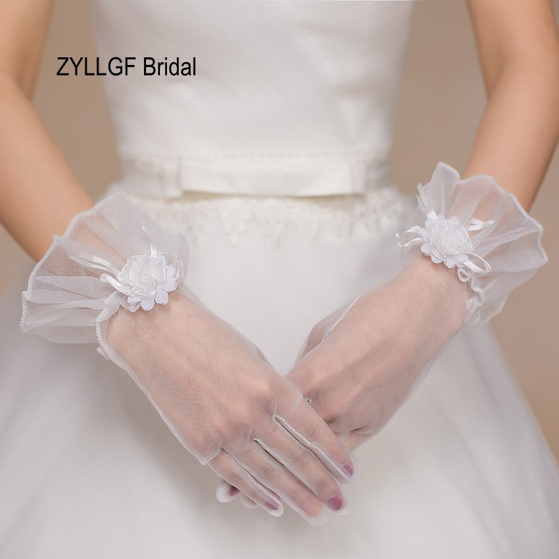 ZYLLGF Bridal New Cheap Guanti Da Sposa Short Finger Bridal Gloves Wedding