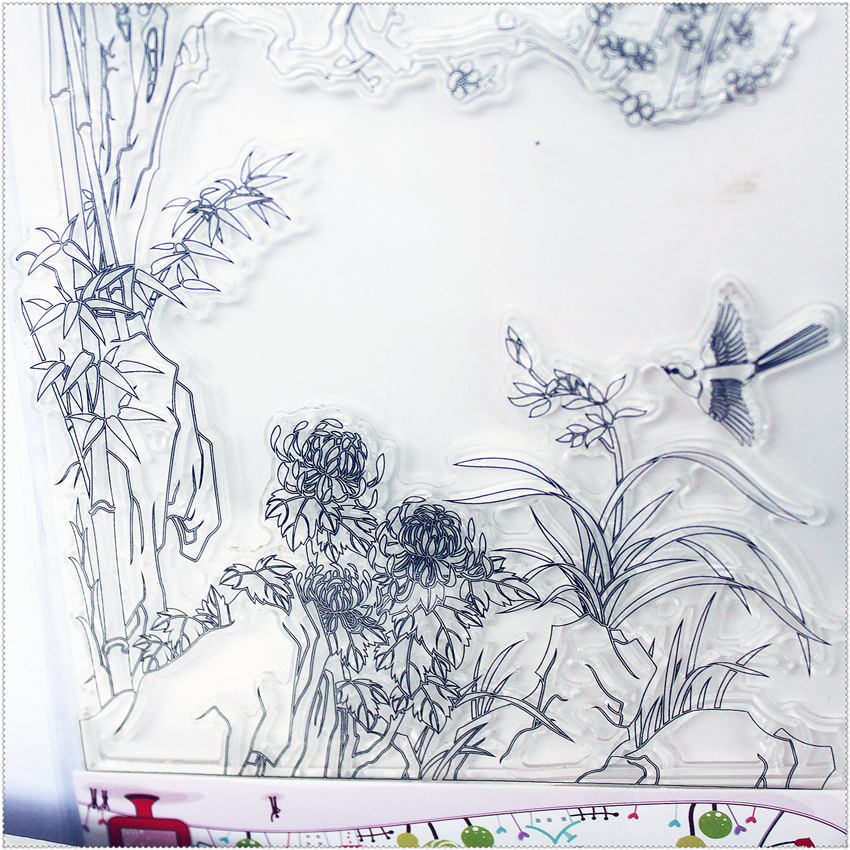 PANFELOU 11.3*15.56cm Bamboo bird Account Transparent Silicone Rubber Clear Stamps cartoon for Scrapbooking/DIY  wedding album from 2012 ea1420 1ms new 0626 coastal bird stamps