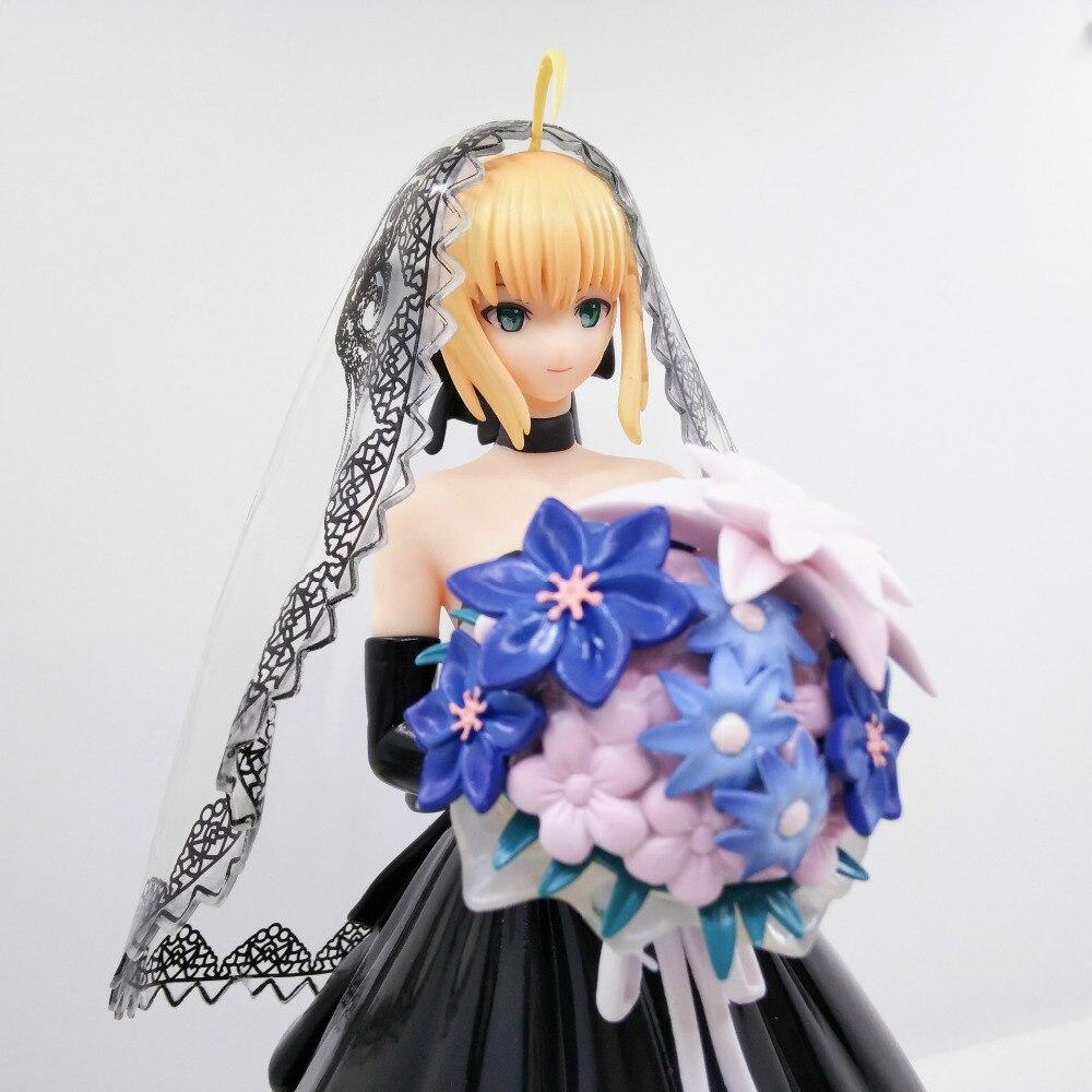 1 pièces 25 CM pvc japonais sexy anime figure destin/séjour nuit sabre noir mariage ver 10th anniversaire figurine d'action - 5