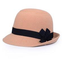 New Vintage Fashion Solid Felt Women Woolen Fedora Bowlers Hat Cap For Ladies Gi