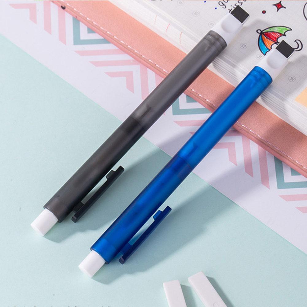 Eraser Mechanical Eraser Meticulous Highlighting Refillable Pen Shape Rubber Press Type Sketch Drawing Eraser School Stationery