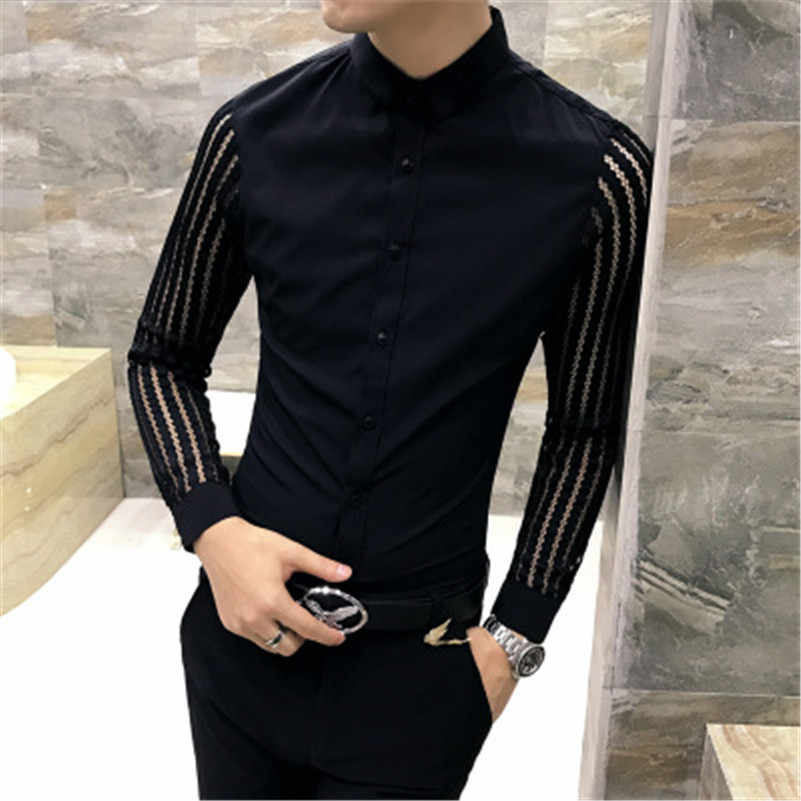 VISADA JAUNA 2018 新メンズシャツカジュアルファッション男性のシャツ男性の長袖中空スリムフィットシャツビッグサイズ N8829