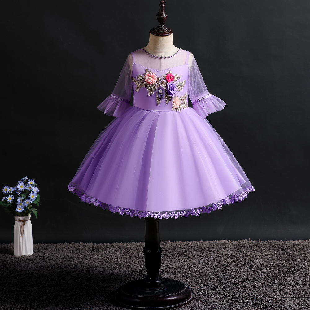 New girls clothes pattern baby girl Princess Dress embroidered lace middle sleeve stage show hosting ballet birthday party