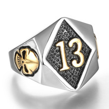 Size 8-20 Motor Biker Lucky Number 13 Ring Stainless Steel Men Boys Silver Cool Man Biker Skull Ring