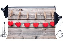 Valentines Day Red Hearts Vintage Stripes Wood Floor Wedding Backdrops Photography Backdrop