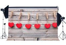 Valentinstag Rote Herzen Vintage Streifen Holz Boden Hochzeit Kulissen Fotografie Hintergrund