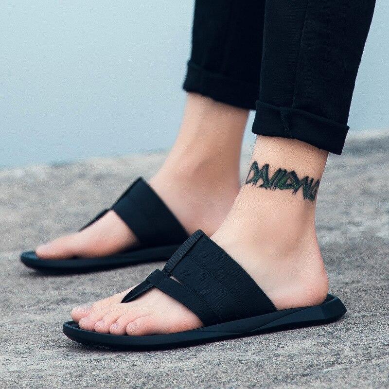 Étroite Coudre À Hommes Plat Chaussures blanc Flops Loisirs Pu Mode Plage Flip D'été L'extérieur Bande Solide Noir Concise De Avec Pantoufles 4Y4IanqZ
