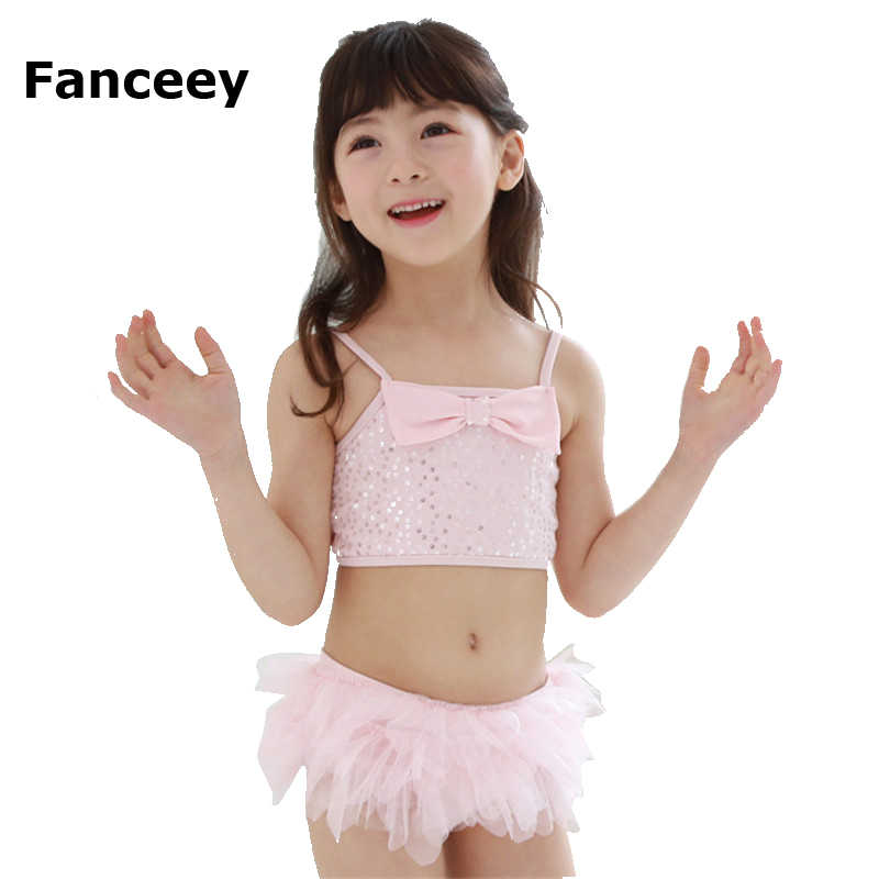 d5ad3ecaf3 2019 New South Korean children bathing suit for kids girls swimsuit lace skirt  baby conjoined pink