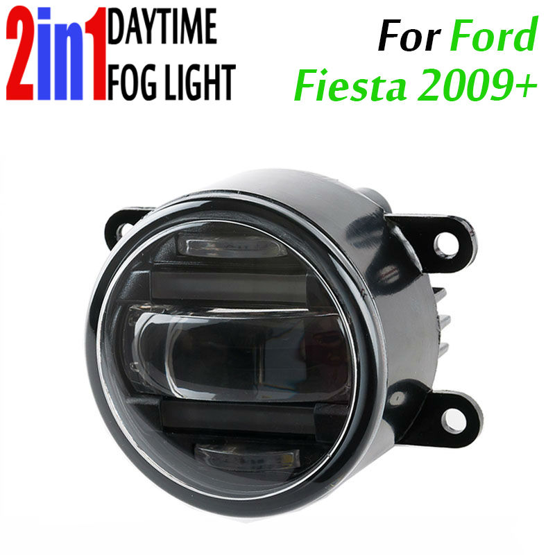 90mm Round Auto Car Trucks DRL Daytime Fog Led Daytime Running And Led Fog 2 In 1 With Projector Lens Waterproof For Ford Fiesta датчик lifan auto lifan 2