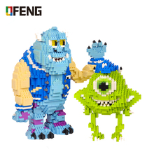 New Magic Mini Blocks Cartoon anime Small Bricks  Mike Wazowski Blue Monster Model DIY Building Toys Kids Toys Children Gifts wisehawk nanoblocks zootopia judy hopps nick wilde plastic building blocks bricks anime cartoon diy model educational toys kids